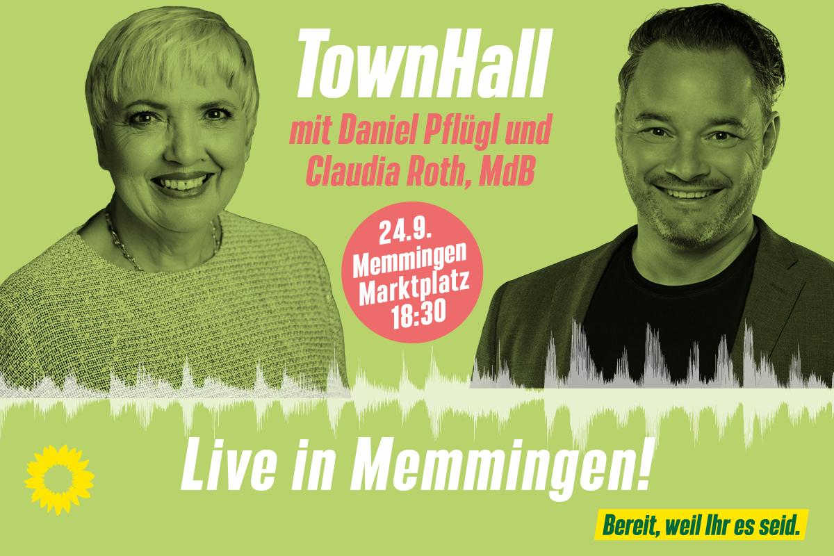 Townhall mit Claudia Roth und Daniel Pflügl in Memmingen